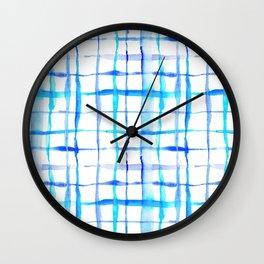 Watercolor Abstract Plaid TieDye in Indigo Ink Wall Clock