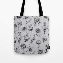 Botanink Pattern Grey Tote Bag