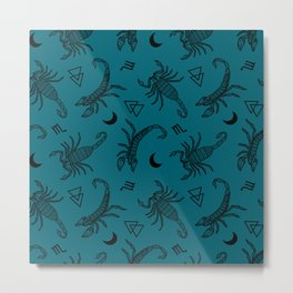 Scorpio Moon on Teal Metal Print