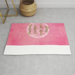"""Stars can't shine without darkness"" quote pink shining watercolor abstract paint Rug"