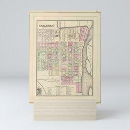 Vintage Savannah GA Map (1884) Mini Art Print