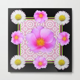 Modern Art Style Shasta Daisy Pink Roses  Black Color Abstract art Metal Print