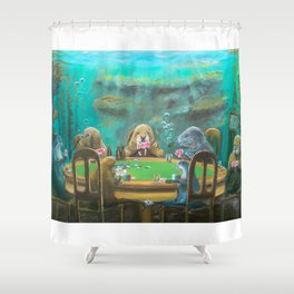 Pinnipeds Playing Poker Shower Curtain