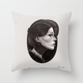 """The Black Dahlia"" Throw Pillow"