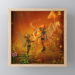 Cute playing fairys Framed Mini Art Print
