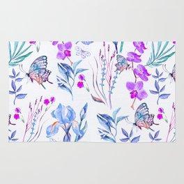 Modern purple blue watercolor hand painted orquid butterfly Rug