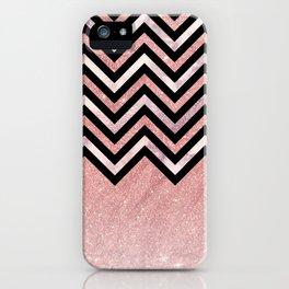 Modern black rose pink glitter lavender marble chevron iPhone Case
