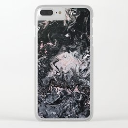 Pink & Black Pour Clear iPhone Case