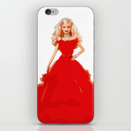 Christmas Doll in Red Dress Vector Art iPhone Skin