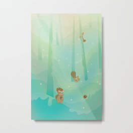 Hide and Seed (Cartoon Squirrels, Mint Green Snow Forest) Metal Print