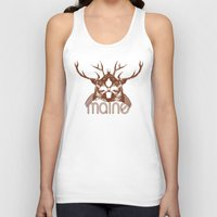 maine Tank Tops featuring Backwoods Maine by One Giant Eye