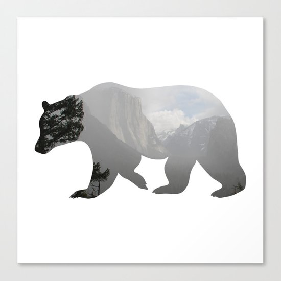 Grizzly Bear with Yosemite Photo Inlay Canvas Print