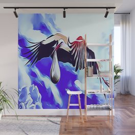 White Storks Delivering Newborn Foundlings Wall Mural