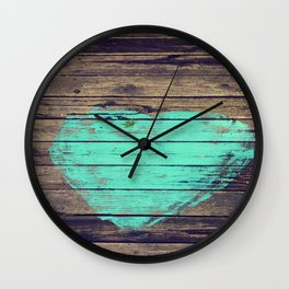 Painted Heart on Wood Wall Clock