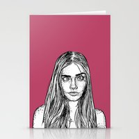cara delevingne Stationery Cards featuring Cara Delevingne by Sharin Yofitasari
