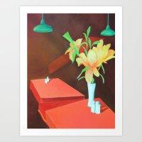 Flowers on table  Art Print