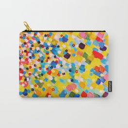 SWEPT AWAY 2 - Vibrant Colorful Rainbow Mango Yellow Waves Mermaid Splash Abstract Acrylic Painting Carry-All Pouch
