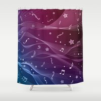 pentagram Shower Curtains featuring Rock and roll by victimArte