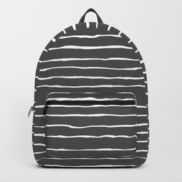 Modern Charcoal and White Stripes Backpack