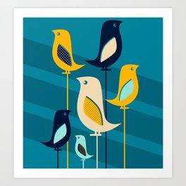 Mid Century Birds Blue Art Print
