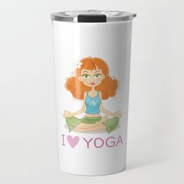 Cute Yoga Girl Sitting in Lotus Pose Travel Mug
