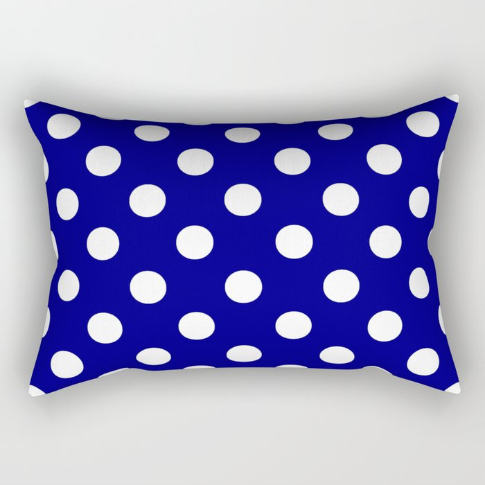 POLKA DOT (WHITE & NAVY) Rectangular Pillow