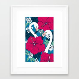 Flamingos and tropical flowers and leaves Framed Art Print
