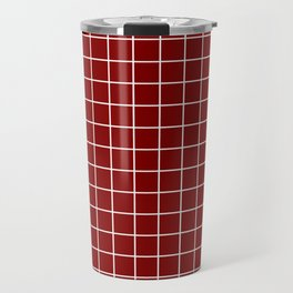 Maroon (HTML/CSS) - red color - White Lines Grid Pattern Travel Mug