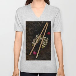 Chop Sticks Pattern Unisex V-Neck