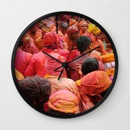 Holi, Mathura, India Wall Clock