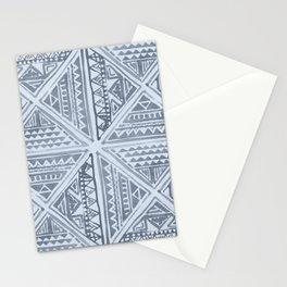 Simply Tribal Tile in Indigo Blue on Sky Blue Stationery Cards