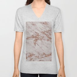 Trendy elegant rose gold glitter gray marble Unisex V-Neck