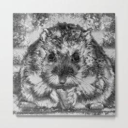 AnimalArtBW_Hamster_20170901_by_JAMColorsSpecial Metal Print