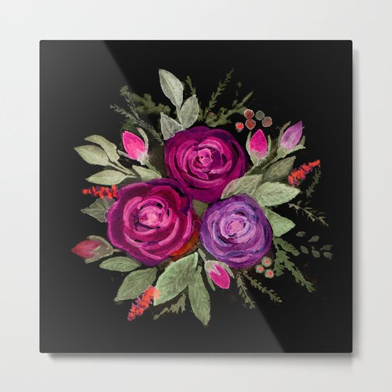 Purple roses on a black background. Watercolor . Metal Print