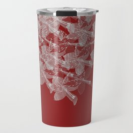 White Flowers In the Wind Travel Mug