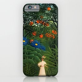 'Woman walking amid Tropical Blue Cornflowers in an exotic forest' by Henry Rousseau iPhone Case