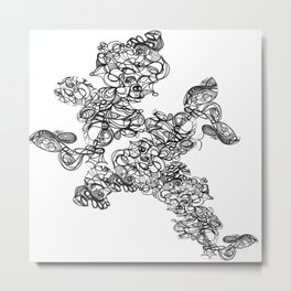 Coral henna doodle: ink and time Metal Print