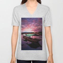 Sunset Boat Water (Color) Unisex V-Neck