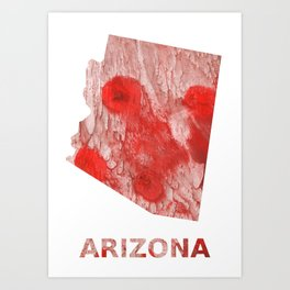 Arizona map outline Red Pink streaked wash drawing Art Print