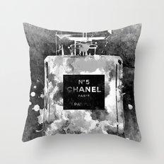 No 5 Black and White Throw Pillow