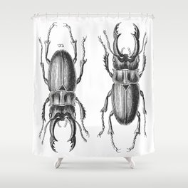 Vintage Beetle black and white Shower Curtain