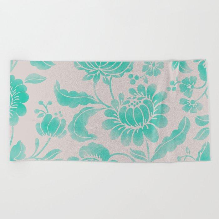 Wild Flower Cyan Beach Towel