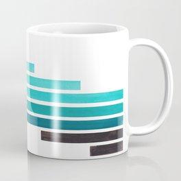 Blue Teal Turqoise Midcentury Modern Minimalist Staggered Stripes Rectangle Geometric Aztec Pattern Coffee Mug