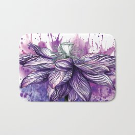 Purple Lotus Flower Watercolour Pen Pencil Illustration Painting Bath Mat