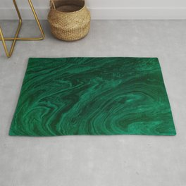 malachite green marbleized effect marble painting Rug
