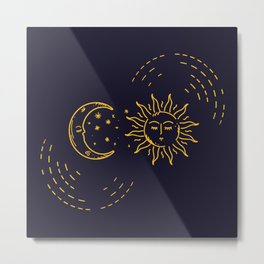 Blue and gold sun and moon oriental style Metal Print
