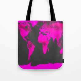 worLD MAP Fuchsia Pink & Gray Tote Bag