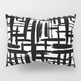 Scandinavian Abstract grunge pattern, paint strokes, grid, black on white background Pillow Sham