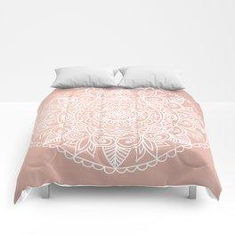 White Mandala on Rose Gold Comforters