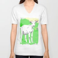 goat V-neck T-shirts featuring Goat by wingnang